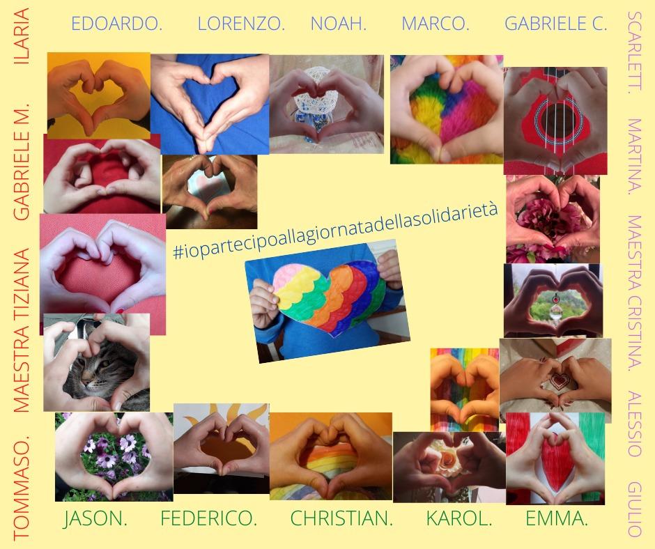 _Noi ci mettiamo il cuore_                                           #iopartecipoallagiornatadellasolidarieta   scuola primaria _Don Milani_ Palaia (PI) classe II